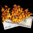 Burning money — Stock Photo