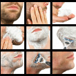 Close-up of a young man shaving, compilation of nine images — Stock Photo
