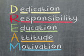 Dedication, responsibility, education, attitude, motivation - DR — Stock Photo