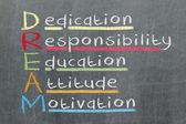 Dedication, responsibility, education, attitude, motivation - DR — Stock Photo