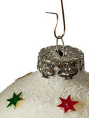 Close-up of a silver christmas ball with stars — ストック写真