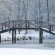 Wooden bridge covered in snow - Stock Photo