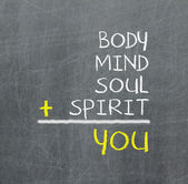 You, body, mind, soul, spirit - a simple mind map — 图库照片