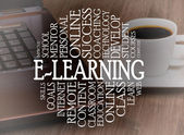 Word cloud e-learning concept — Stock Photo