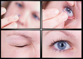 Close up of inserting a contact lens — Stock Photo