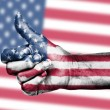 US flag on thumbs up hand — Stock Photo #18928509