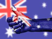 Australian flag on thumbs up hand — Stock Photo