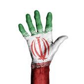 一位老妇,包裹用的旗子的伊朗图案的手 — 图库照片