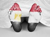 Dead body under a white sheet — Stock Photo