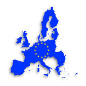 Illustration of a map of European union and EU flag — Stock Photo