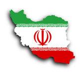 Map of Iran and Iranian flag illustration — Stock Photo