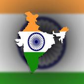 Map of India filled with flag — Stock Photo