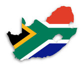 Map of South Africa with national flag — Stock Photo