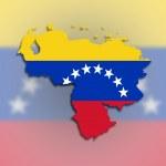 Постер, плакат: Venezuela map with the flag inside