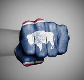United states, fist with the flag of Wyoming — Stock Photo