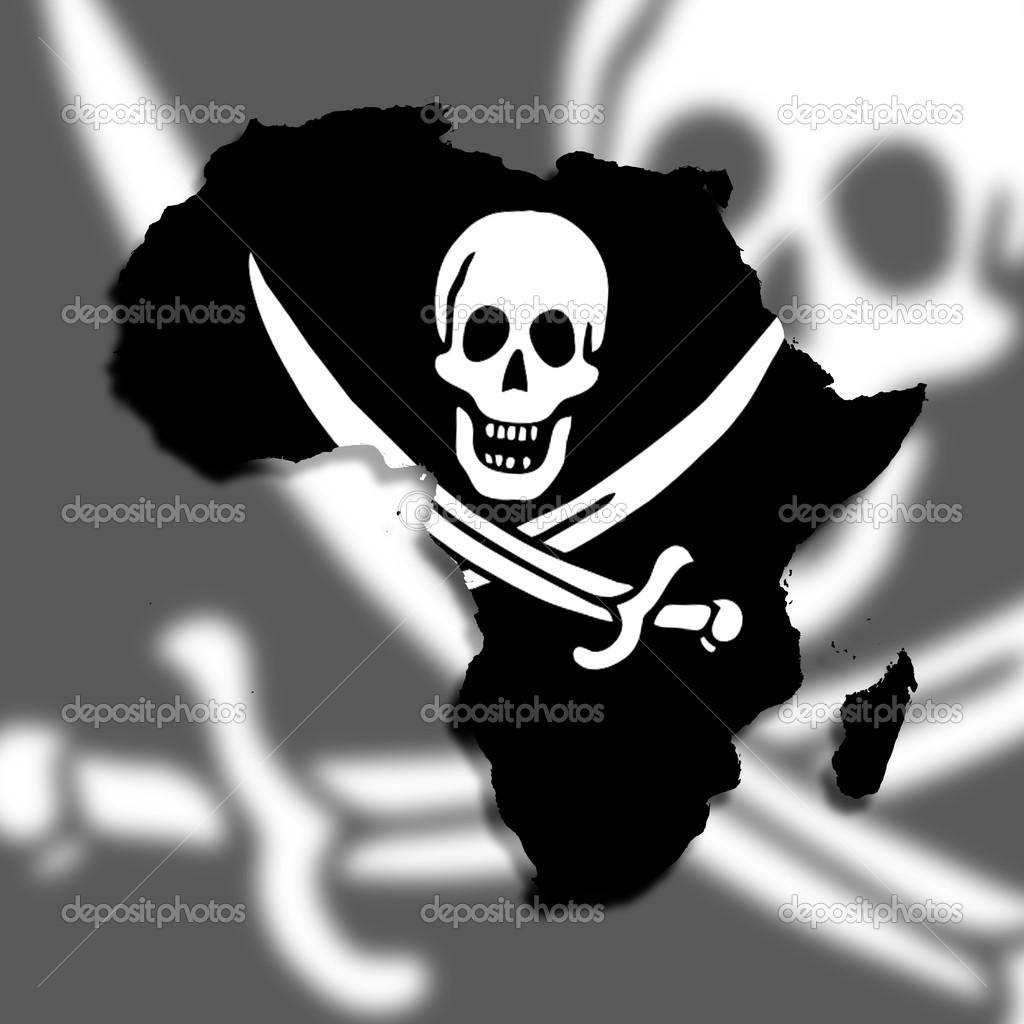 非洲地图充满海盗旗
