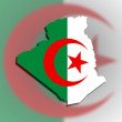 Map of Algeria filled with flag — Stock Photo