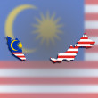 Map of Malaysia filled with flag — Stock Photo