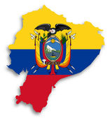 Map of Ecuador filled with flag — Stock Photo