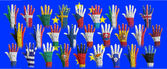 Hands with flag painting of the EU-coutries — Stock Photo