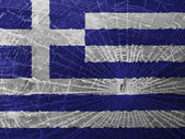 Broken glass or ice with a flag, Greece — Stock Photo