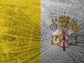 Broken glass or ice with a flag, Vatican City — Stock Photo