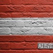 Stock Photo: Brick wall with a painting of a flag, Austria