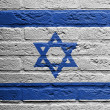 Stock Photo: Brick wall with painting of flag, Israel