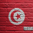 Brick wall with a painting of a flag, Tunesia — Stock Photo