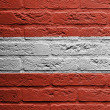 Brick wall with a painting of a flag, Austria — Stock Photo