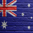 Stock Photo: Brick wall with painting of flag, Australia