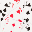 Large collection of used playing cards — Stock Photo