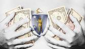 Sweaty girl covered her breast with money, flag of Massachusetts — Stock Photo