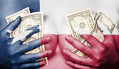 Sweaty girl covered her breast with money, flag of Texas — Stock Photo