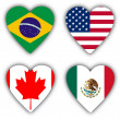 Flags in the shape of a heart, coutries — Stock Photo #21439819