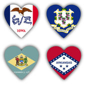 Flags in the shape of a heart, US states — Stock Photo