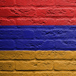 Brick wall with a painting of a flag, Armenia — Stock Photo