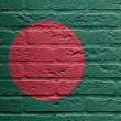Brick wall with a painting of a flag, Bangladesh - Stockfoto