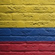 Brick wall with a painting of a flag, Colombia - Stockfoto