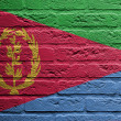 Brick wall with a painting of a flag, Eritrea — Stock Photo