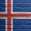 Brick wall with a painting of a flag, Iceland — Стоковая фотография