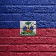 Brick wall with painting of flag, Haiti — стоковое фото #21707823