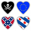 Flags in the shape of a heart, symbolic flags — Stock Photo #21708139