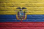 Brick wall with a painting of a flag, Ecuador — Stock Photo