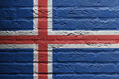 Brick wall with a painting of a flag, Iceland — Stock Photo