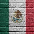Brick wall with a painting of a flag, Mexico — Stock Photo