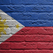Brick wall with a painting of a flag, The Philippines — Stock Photo