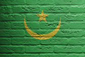 Brick wall with a painting of a flag, Mauritania — Stok fotoğraf