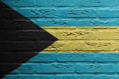 Muro di mattoni con un dipinto di una bandiera, bahamas — Foto Stock