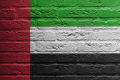 Brick wall with a painting of a flag, The United Arab Emirates — Stok fotoğraf